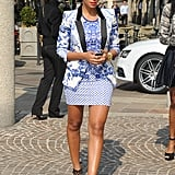 During Milan Fashion Week Spring 2013, Solange layered a blue-and-white blazer over her mixed-print mini to create a head-turning Roberto Cavalli combo, then slipped on a pair of cutout Christian Louboutin sandals for a dash of detail. This print-on-print pairing was a little tame by Solange standards.