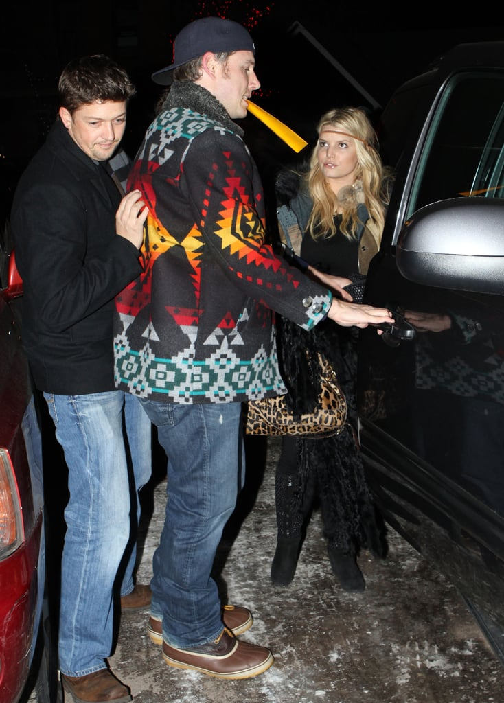 "Adorable couple Jessica Simpson and Eric Johnson were decked out in their Winter wear last night to shop their way around Aspen with a group of friends. The duo are together in Colorado after celebrating Christmas with the Simpson clan, including her sister, Ashlee, brother-in-law, Pete, and nephew, Bronx. Jess spread good cheer and updated fans about their plans by tweeting, ""Eric is the perfect addition to our family. We all stayed at my parents on Xmas eve. We are lucky to have 3 new studs in the fam: Pete, BX, and EJ!"" Jessica, who's among your favorite celebs to follow on Twitter, made headlines this year by announcing her and Eric's surprising engagement news. They're wrapping up their first holiday season together, but rumors of a New Year's wedding have yet to prove true."
