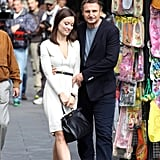 Olivia Wilde carried a black bag to film a scene with Liam Neeson for their new film The Third Person.