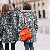 Style Your Leopard-Print Coat With: Jeans and a Bright Bag