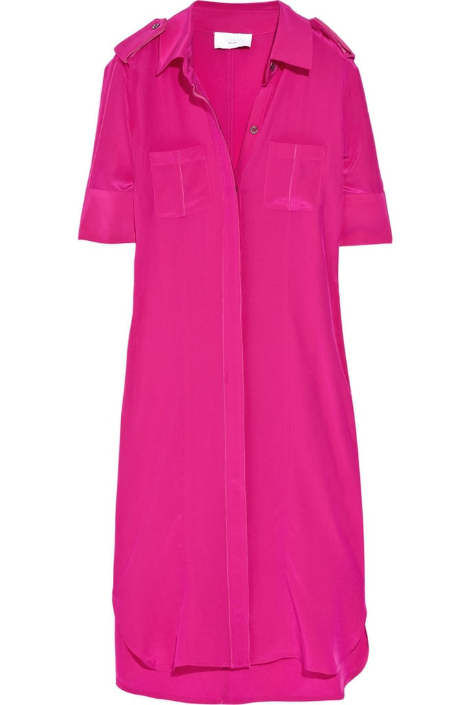Pair this effortless silk shirt dress with nude sandals for a cool off-duty look.  Adam Silk Shirt Dress ($196, originally $280)
