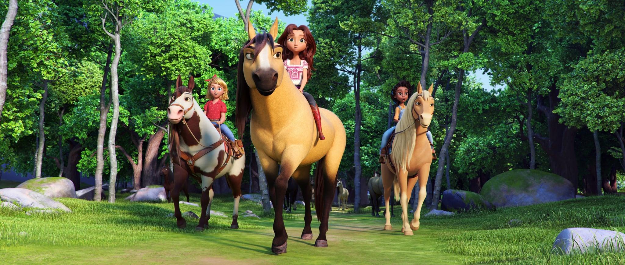 SPIRIT UNTAMED, from left: Abigail Stone (voice: Mckenna Grace) riding Boomerang, Lucky Prescott (voice: Isabela Merced) riding Spirit, Pru Granger (voice: Marsai Martin) riding Chica Linda, 2021.  Universal / courtesy Everett Collection