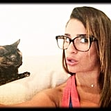 Lea showed off her silly side in this candid snap with her cat in June 2013. Source: Instagram user msleamichele