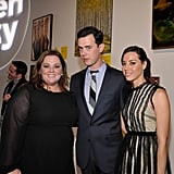 Melissa McCarthy, Colin Hanks, and Aubrey Plaza at a Livestrong benefit in LA.