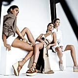 Joan Smalls, Lily Aldridge, and  Gigi Hadid behind the scenes for the new Stuart Weitzman campaign.