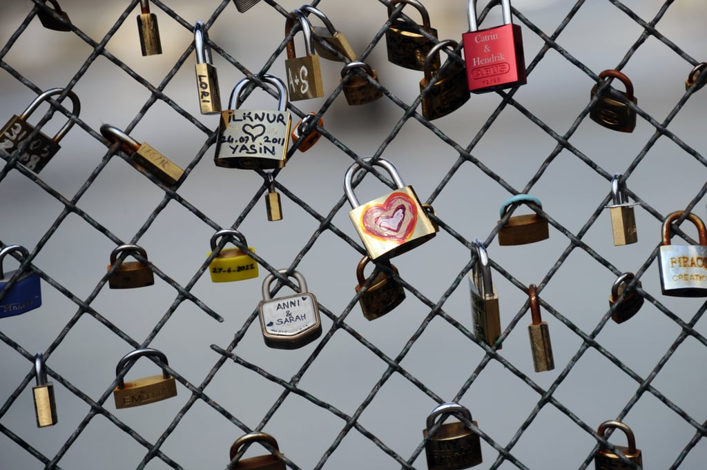 Love padlocks were decorated and affixed to a bridge in Paris.