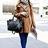 Bright pants and bright shades added up to a cooler twist on a classic coat.