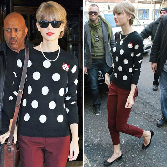 Taylor Swift's Polka Dot Cat Sweater in London 2012