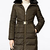 Michael Michael Kors Faux-Fur-Collar Belted Hooded Down Puffer Coat ($330)