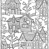 Get the coloring page: haunted houses
