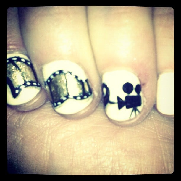 Zooey Deschanel showed off a movie-themed manicure at the Golden Globes. Source: Instagram user zooeydeschanel