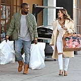 Kim Kardashian showed off her custom Hermès Birkin during a shopping trip with Kanye West in LA.