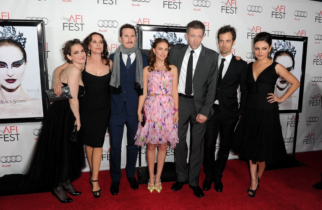 Winona Ryder, Barbara Hershey, Darren Aronofsky, Natalie Portman, Vincent Cassel, Benjamin Millepied, and Mila Kunis went to the 2010 LA premiere of Black Swan.