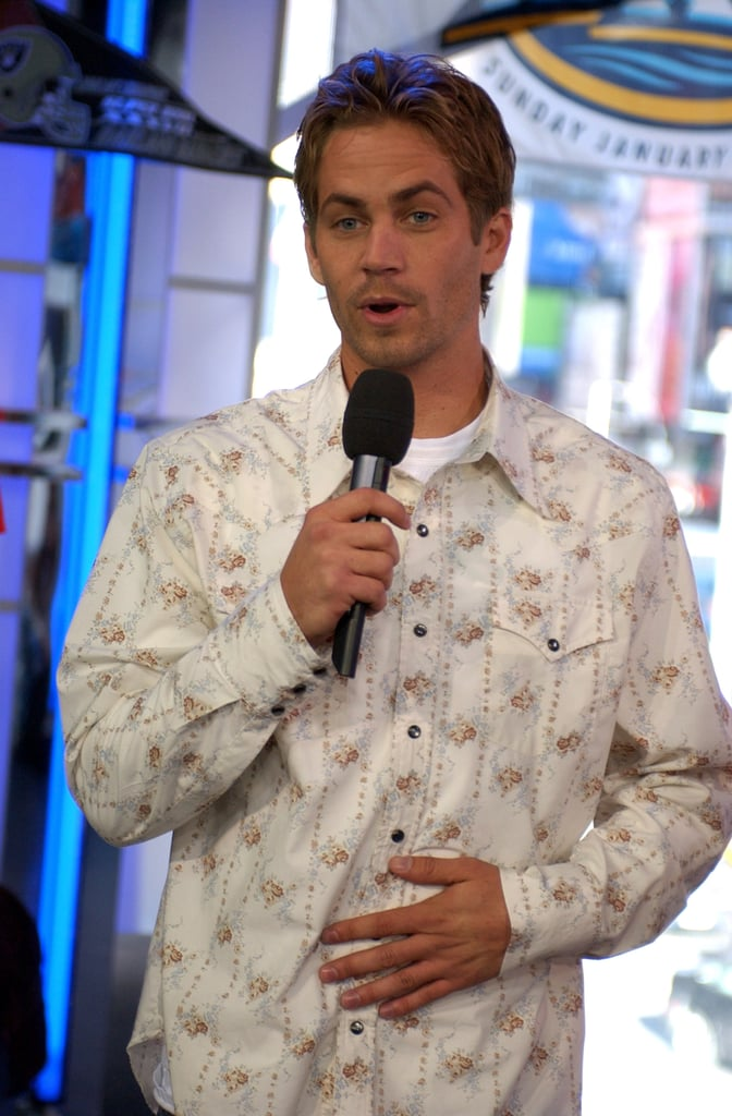 Paul Walker joined the party at MTV's Super Bowl Tailgate event in NYC in January 2003.