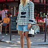Pair Denim Cutoffs With a Tweed Blazer and Slides