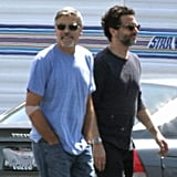 George Clooney made his way to a set at the airport in Los Angeles.