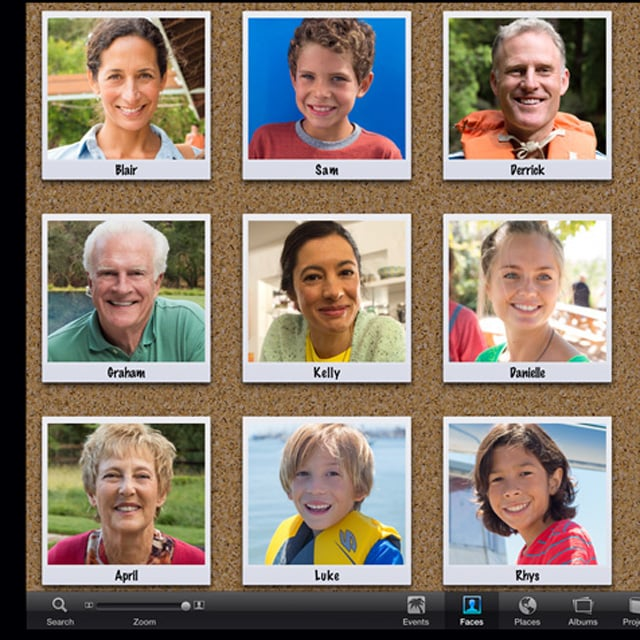 Organize pictures in iPhoto by face Source: Apple