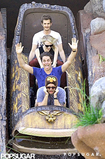 Emma Stone and Andrew Garfield went on a ride while visiting Disneyland.
