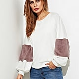 SHEIN Fuzzy Fabric Detail Exaggerate Sleeve Pullover