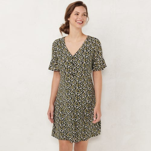 LC Lauren Conrad Button Front Fit & Flare Dress