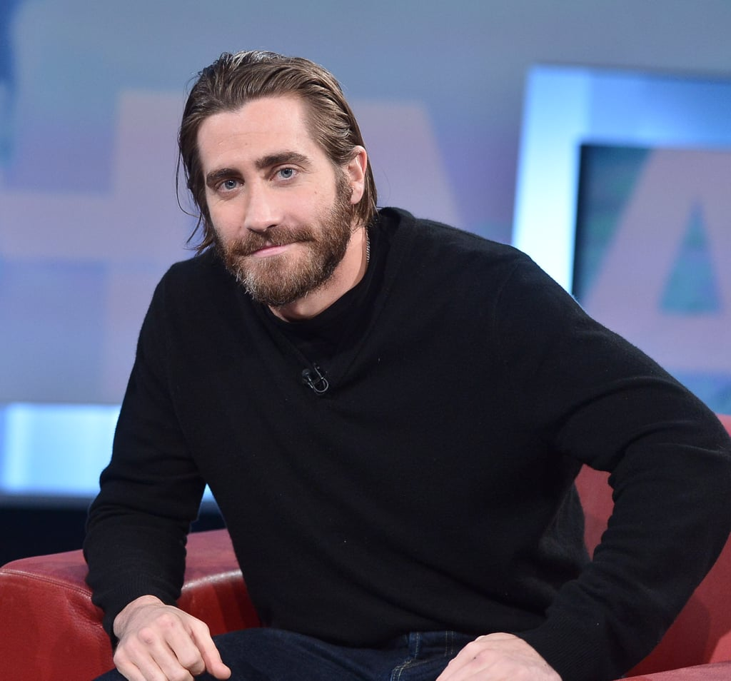 Jake's bushy beard was on display during a Toronto TV appearance in January 2014.