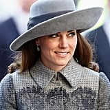 Kate dressed her Erdem coat with a wide-brim hat by John Boyd at the the Commonwealth Observance Day Service in 2016.