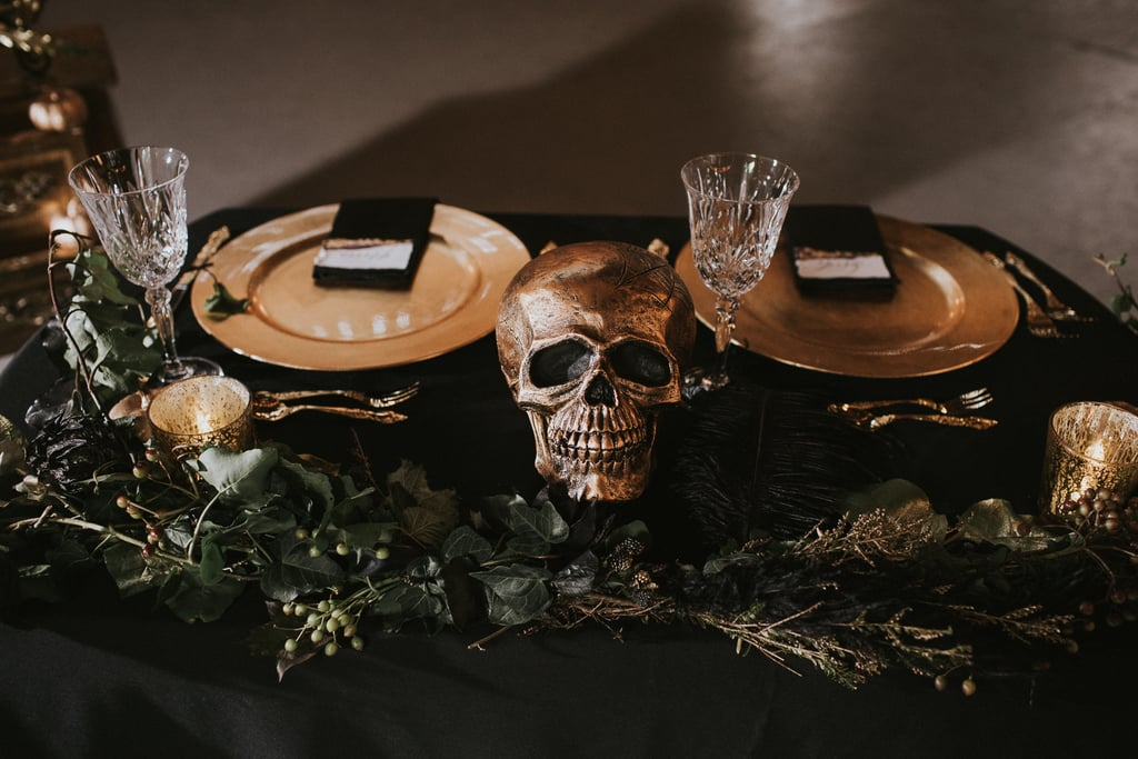 if anyone has a black and gold halloween wedding like this please send us an