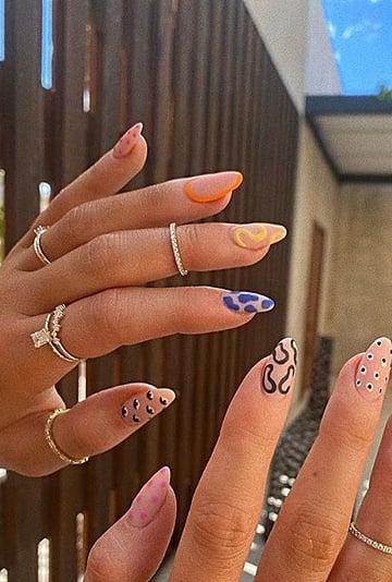 Kylie Jenner's Mismatched Nail-Art Manicure