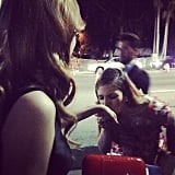 Bella Thorne got kisses from Drew Barrymore after the Golden Globes. Source: Instagram user bellathorne