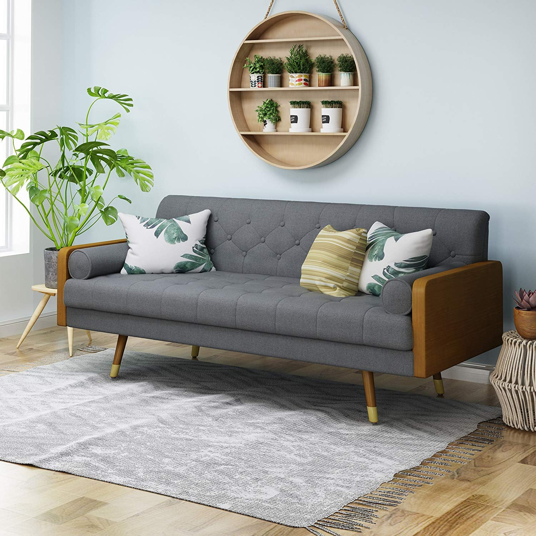 Aidan Mid Century Modern Tufted Fabric Sofa Prepare To