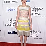 Michelle Williams looked ready for Spring in pink and yellow.