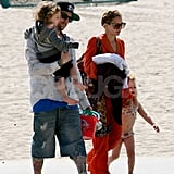Nicole Richie and Joel Madden spent time as a family with Harlow and Sparrow at the beach in Malibu for Easter.