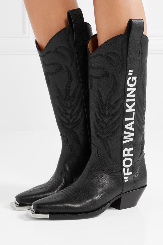 c7aea5ceaa73 Off-White For Walking Embroidered Printed Textured Leather Knee Boots