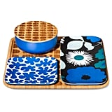 Bamboo serving set in blue ($30)