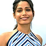 Freida Pinto showed off her pearly whites at the Desert Dancer photocall at the Cannes FIlm Festival.