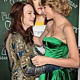Emma Stone shared a laugh with Taylor Swift at the premiere of Easy A in September 2010.