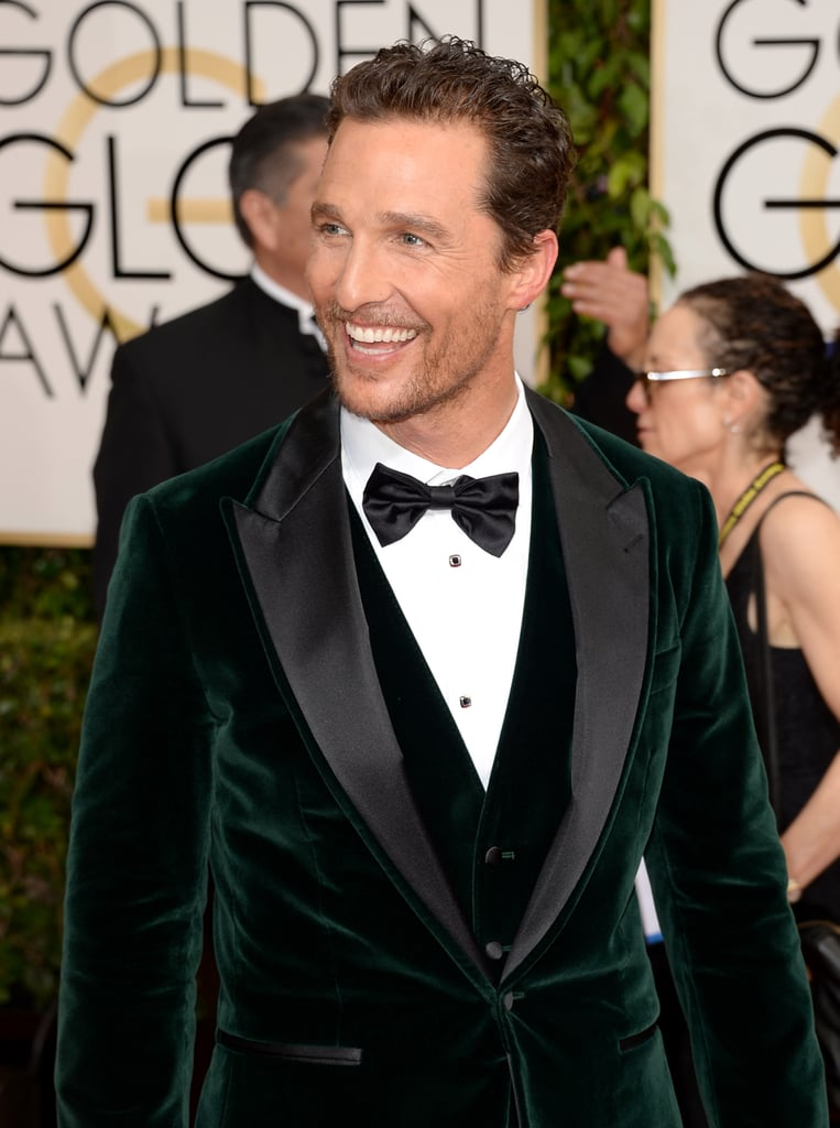 Matthew flashed a handsome smile while walking the red carpet at the Golden Globe Awards in January 2014.