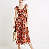 Sheer-Sleeve Button-Front Midi Dress in Gathered Blooms