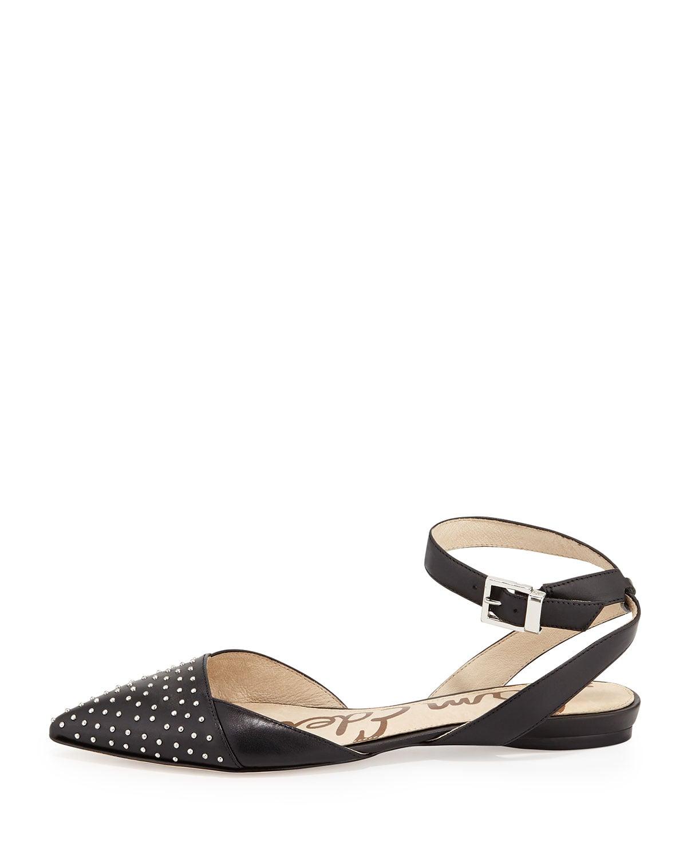 Sam Edelman Brina Studded Pointy-Toe Ankle-Wrap Flat ($110)