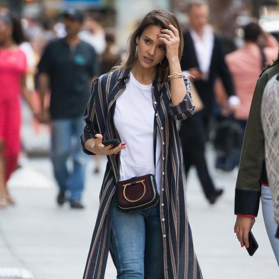 Jessica Alba Wearing a Striped Duster Coat
