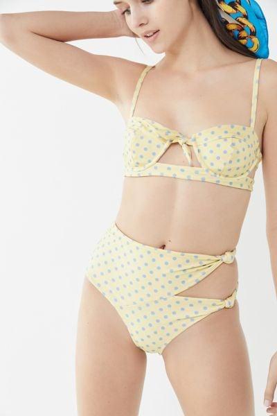 For Love & Lemons Limoncello Tie-Front Underwire Bikini Top