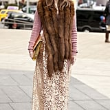 Furry layers anchored a lacy skirt for a ladylike, vintage vibe.