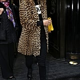 A leopard-print coat topped another all-black look from Kate in November 2012.