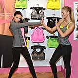 Adriana Lima and Erin Heatherton posed for a Victoria's Secret event in NYC.