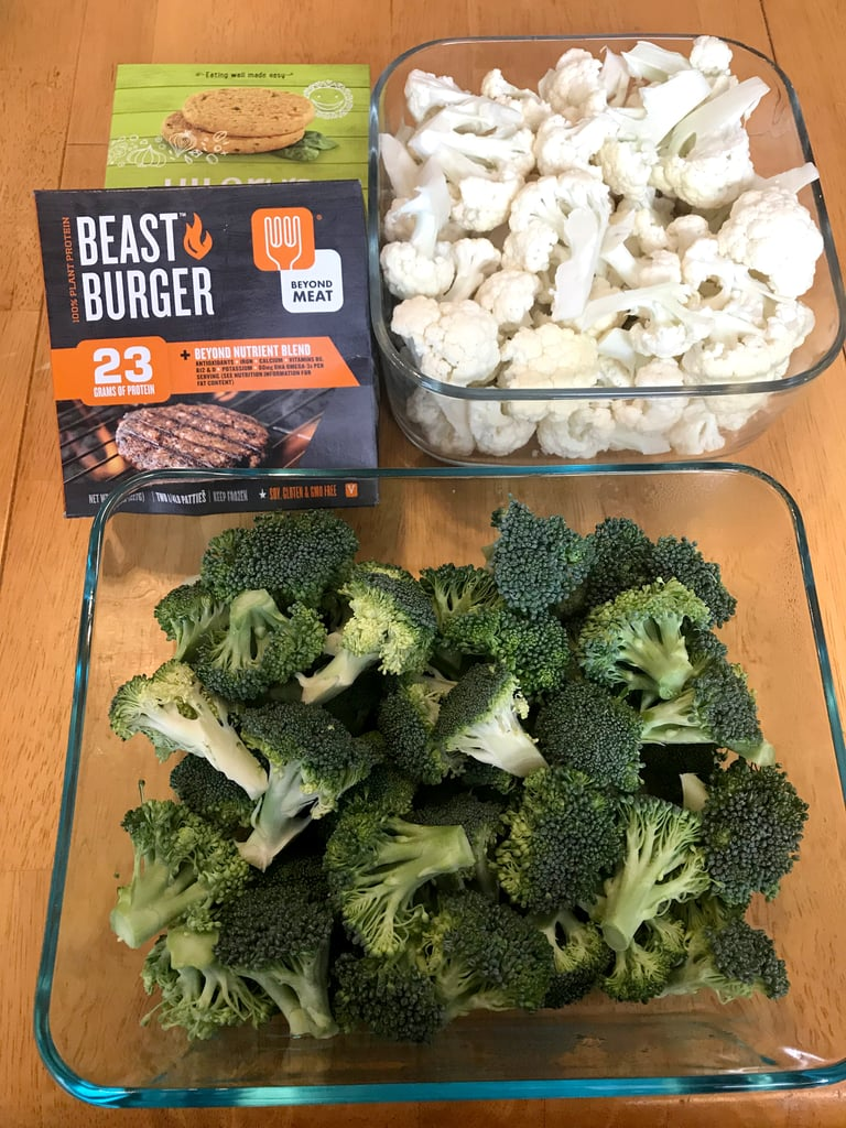 Friday Dinner: Veggie Burgers With Roasted Cauliflower and Steamed Broccoli