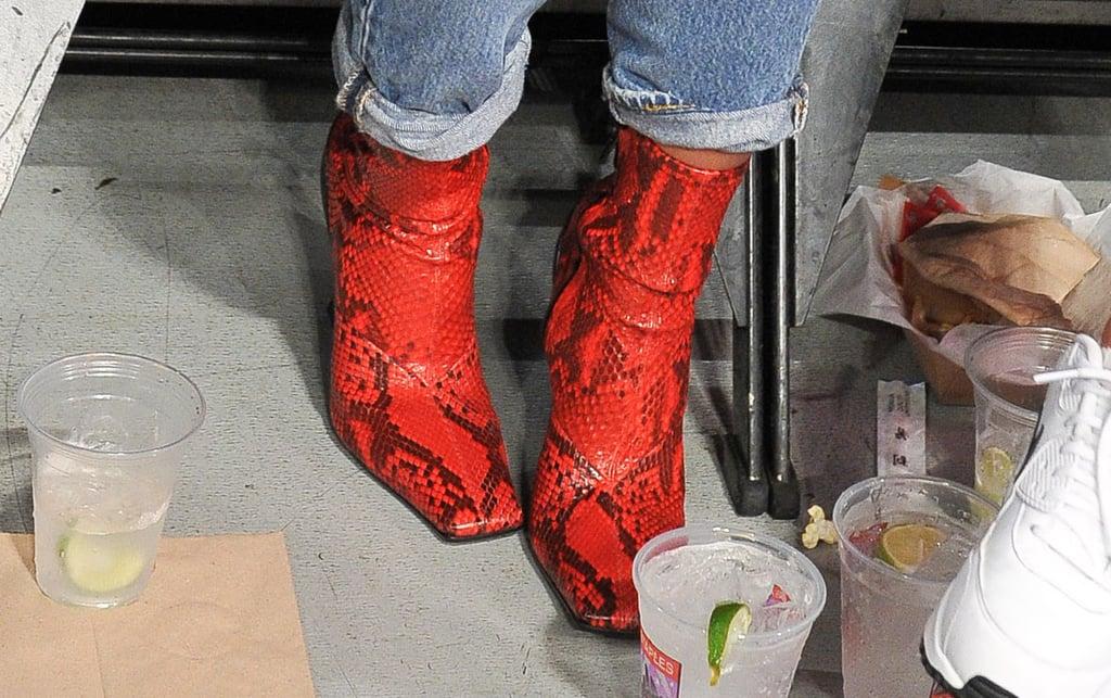 Emily Ratajkowski Red Snakeskin Boots 2018