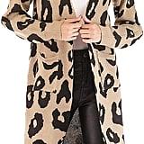 BTFBM Long Sleeve Open Front Leopard Cardigan