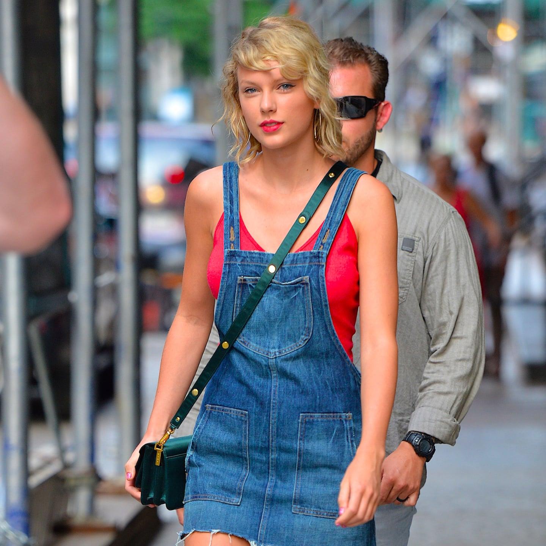 23293d7e22f3 Taylor Swift Wearing a Denim Dress August 2016   POPSUGAR Fashion