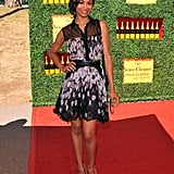 Zoe Saldana rocked a printed dress for the Veuve Clicquot Polo Classic