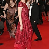 Ahna O'Reilly wore a red frock.